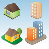 Set of vector buildings royalty free stock images