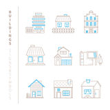 Set of vector buildings icons and concepts in mono thin line style Royalty Free Stock Image