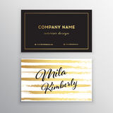 Set of vector business card templates with brush stroke background. Set of Black and Gold Design Templates for Brochures, Flyers, Mobile Technologies and Online Stock Photo