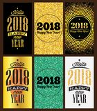 Set of vector business card templates with a congratulation for the new 2018 year.  Stock Photo