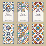 Set of vector business card templates. Portuguese, Moroccan, Azulejo, Arabic, asian ornaments. Geometric and floral motifs Royalty Free Stock Photos