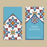 Set of vector business card templates. Portuguese, Moroccan, Azulejo, Arabic, asian ornaments. Geometric and floral motifs Stock Photo