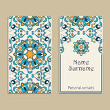 Set of vector business card templates. Portuguese, Moroccan, Azulejo, Arabic, asian ornaments. Geometric and floral motifs Stock Image