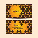Set of vector business cards. With honey cells royalty free illustration