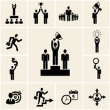 Set of vector business and career icons. Depicting achievement and reward with a man holding a trophy  winner  leadership  promotion  lightbulb  dollar Stock Photography