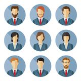 Set of vector business characters in flat design. Stock Image