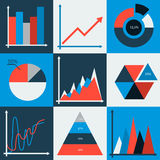 Set of vector business charts, statistic, diagrams Royalty Free Stock Photo