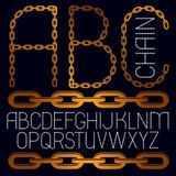 Set of vector business English alphabet letters, abc isolated. C. Apital creative font made with iron chain, linked connection Vector Illustration