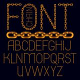 Set of vector business English alphabet letters isolated. Capita. L creative font made with iron chain, linked connection Royalty Free Illustration