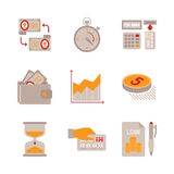 Set of vector business or finance icons and concepts in flat style Stock Photo