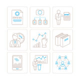 Set of vector business or finance icons and concepts in mono thin line style.  Stock Photography