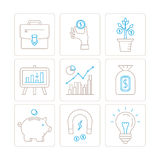 Set of vector business or finance icons and concepts in mono thin line style Stock Photo