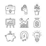 Set of vector business and finance icons in sketch style.  Royalty Free Stock Photography