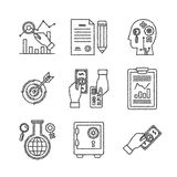 Set of vector business or finance icons in sketch style.  Royalty Free Stock Image