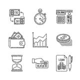 Set of vector business or finance icons in sketch style.  Stock Photography