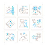 Set of vector business icons and concepts in mono thin line style.  Royalty Free Stock Photos