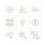 Set of vector business icons and concepts in mono thin line style Stock Image