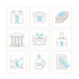 Set of vector business icons and concepts in mono thin line style Stock Photography
