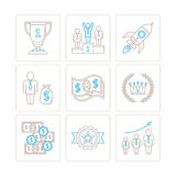 Set of vector business icons and concepts in mono thin line style Stock Images