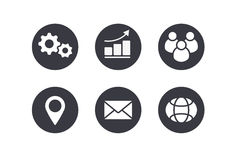 Set of vector business icons  on white background. Flat minimalist simple shape objects. Cogs, bar chart with arrow, group of people silhouette, navigator mark Royalty Free Stock Photography