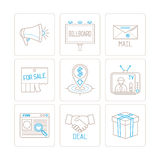 Set of vector business or marketing icons and concepts in mono thin line style.  Stock Images
