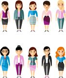 Set of vector business peoples woman. Illustration of a different manager woman Stock Images