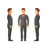 Set of vector businessmen in suits in flat style Royalty Free Stock Photography