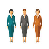 Set of vector businesswomen in suits in flat style Stock Photos