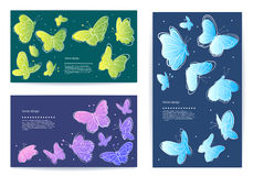 Set of vector butterfly business cards, banners Royalty Free Stock Image