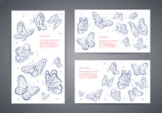 Set of vector butterfly business cards Royalty Free Stock Photo