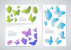 Set of vector butterfly business cards Royalty Free Stock Image