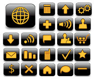 Set of vector buttons. Orange icons on the black buttons Stock Photography