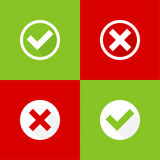 Set of vector buttons. With check marks, ticks, x. checkbox. Web and mobile applications.confirmation, acceptance positive passed voting agreement true and form Royalty Free Stock Images