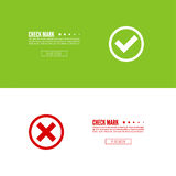 Set of vector buttons. With check marks, ticks, x. checkbox. Web and mobile applications.confirmation, form of access denial, refusing. red, green template Royalty Free Stock Images