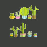 Set of vector cactus icons Stock Photography