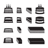 Set of vector cakes with slices. Illustration Stock Photo