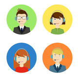 Set of vector call center girls and boys operators Stock Photography