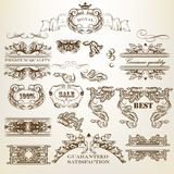 Set of vector calligraphic design elements and page decorations royalty free illustration