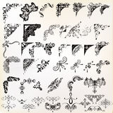 Set of vector calligraphic elements and page decorations Stock Images