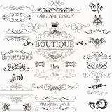Set of vector calligraphic elements and page decorations Royalty Free Stock Image
