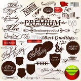 Set of vector calligraphic signatures, ribbons  and labels premi Royalty Free Stock Photos