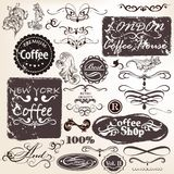 Set of vector calligraphic vintage elements and labels for desig Stock Photography