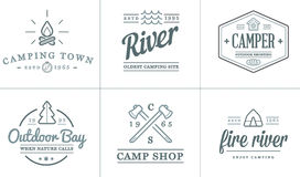Set of Vector Camping Camp Elements and Outdoor Activity Icons Illustration can be used as Logo Stock Image
