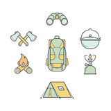 Set of vector camping illustrations. Equipment for tourism. Line color icons Stock Photography