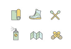 Set of vector camping illustrations Stock Photos