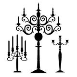 Set of vector candelabra silhouettes royalty free illustration