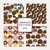 Set of Vector Candy, Bows and Muffins Seamless Patterns. Sweet Party Texture. Royalty Free Stock Photography