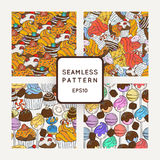 Set of Vector Candy, Bows and Muffins Seamless Patterns. Sweet Party Texture. Royalty Free Stock Photo