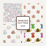 Set of Vector Candy, Bows and Muffins Seamless Patterns. Sweet Party Texture. Royalty Free Stock Image