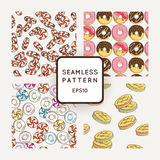 Set of Vector Candy, Bows and Muffins Seamless Patterns. Sweet Party Texture. Stock Photo